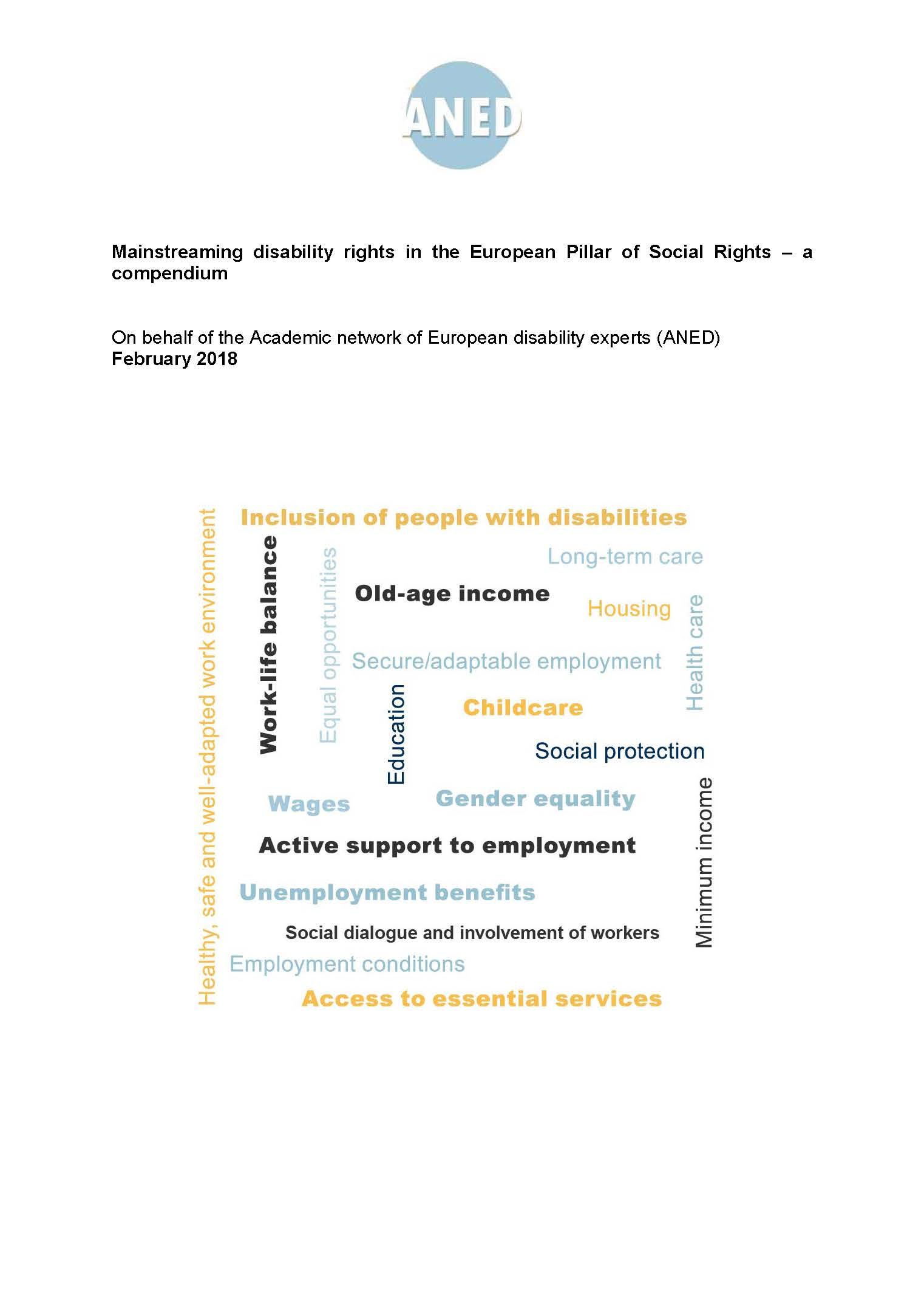 Mainstreaming disability rights in the European Pillar of Social Rights – a compendium