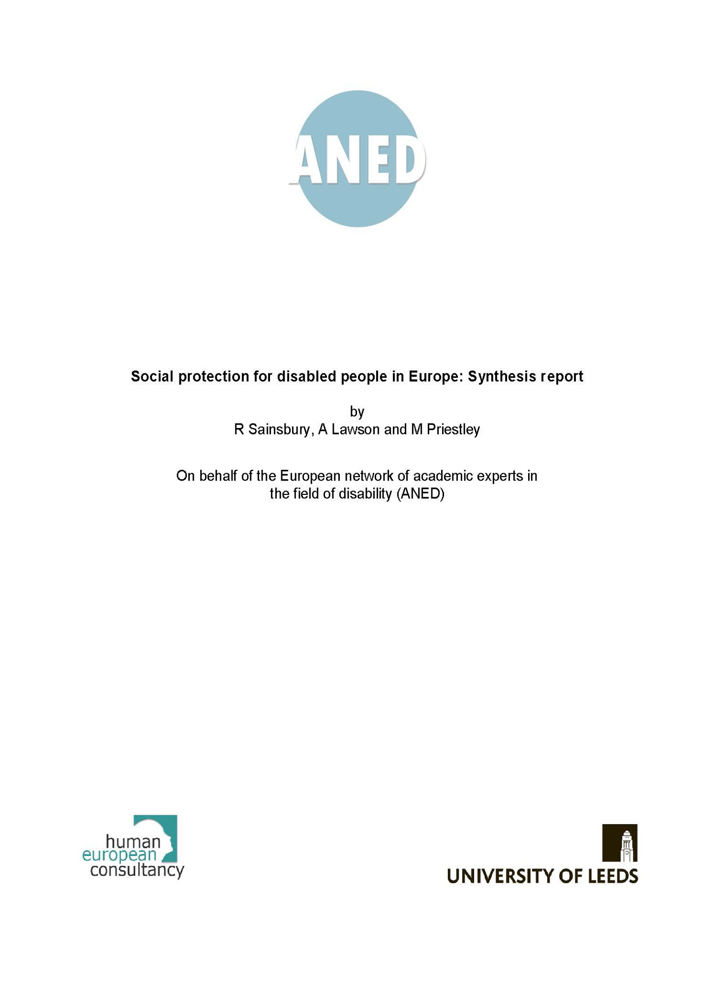 Social protection for disabled people in Europe: synthesis report