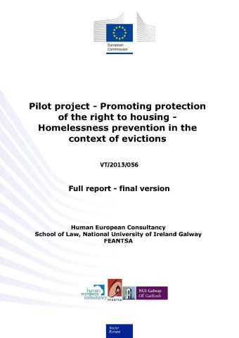Pilot Project - Promoting protection of the right to housing - Homelessness prevention in the context of eviction (PDF 3,12 MB)